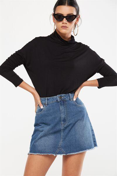 Yolanda Mock Neck Long Sleeve Top, BLACK