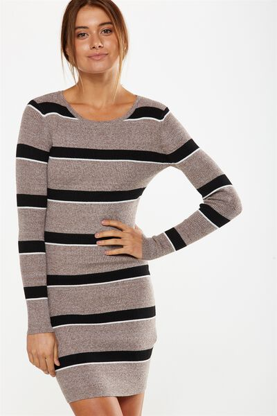 Sally Long Sleeve Midi Dress, BURRO/BLACK/WHITE CARMEL STRIPE