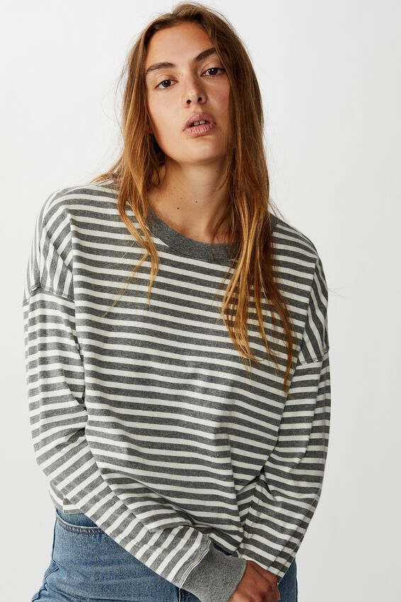 Harris Crew Neck Long Sleeve Top, WASHED HUNT STRIPE CHARCOAL/GARDENIA
