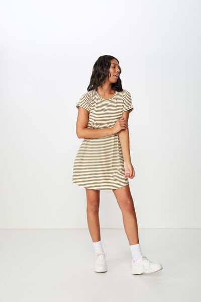 9f24353a936c Tina Tshirt Dress 2, GIN STRIPE BURNT OLIVE/TAFFY. Cotton On Women