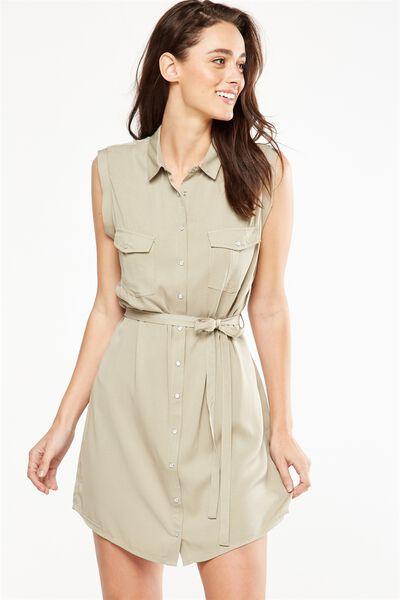 Woven Tilly Sleeveless Shirt Dress, SILVER SAGE