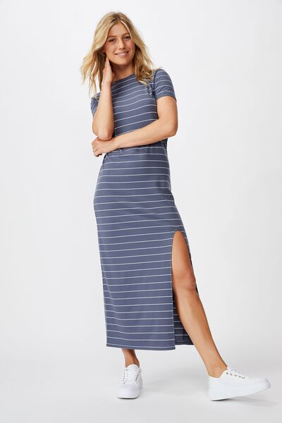 Gracie Short Sleeve Maxi Dress, ELLY STRIPE GRISALLE RIB
