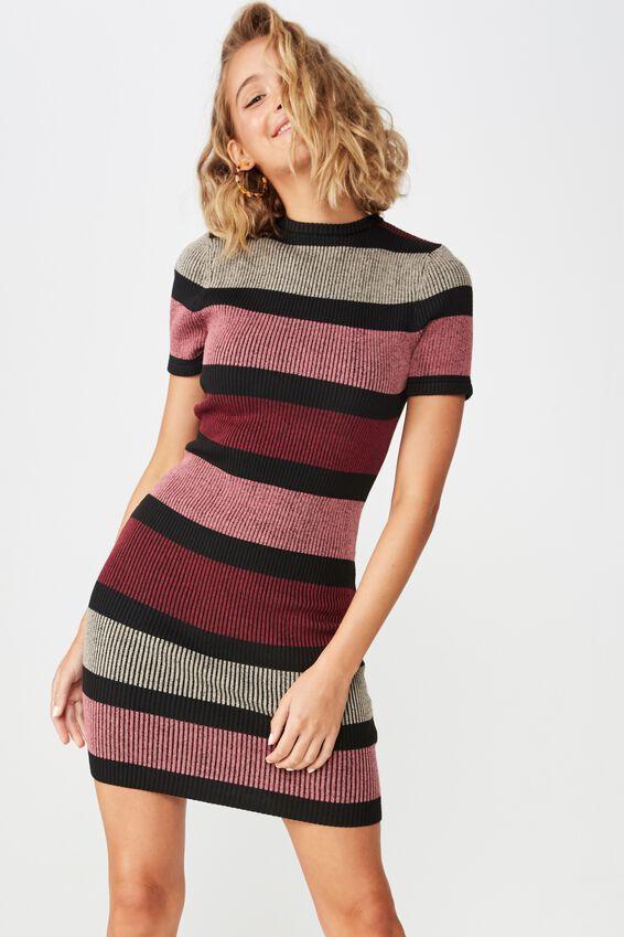 Lottie True Knit Mini Dress, MIA MULTI STRIPE CABERNET