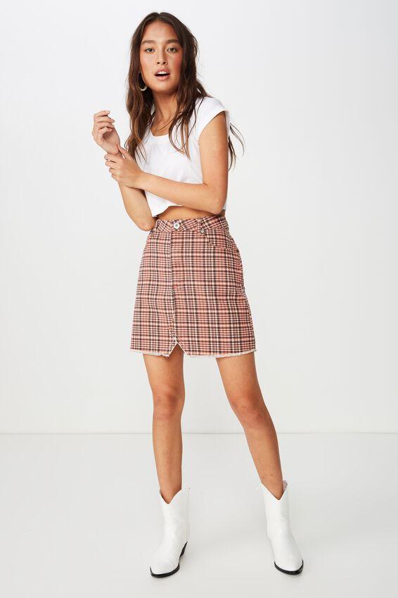 The Re-Made Mini Denim Skirt, NYLA CHECK BURNT OCHRE