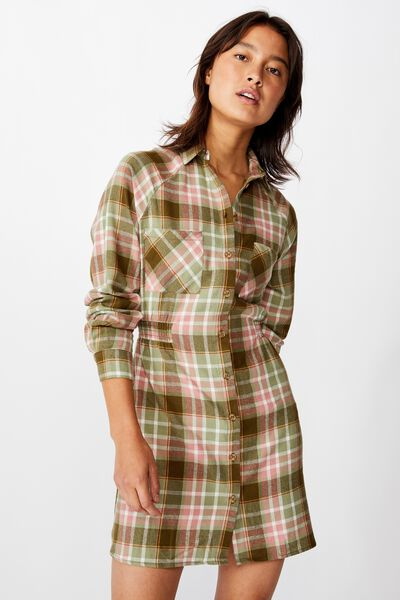 Woven Check Shirt Dress, STACEY CHECK DARK OLIVE