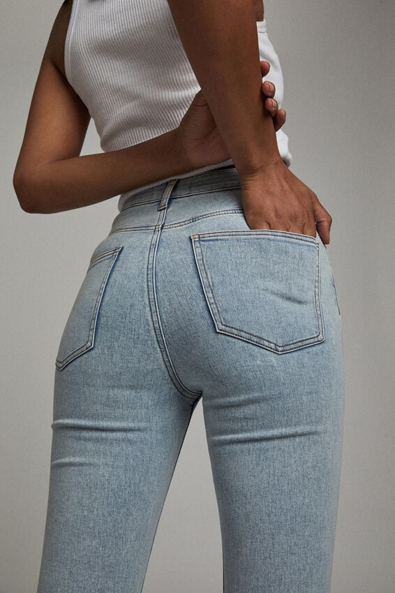 High Rise Cropped Super Stretch, ROADKNIGHT BLUE POCKETS
