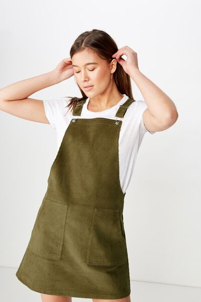 Classic Cord Pinafore, LIGHT OLIVE