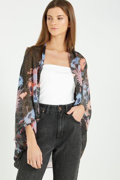 Trixy Cocoon Kimono, MAE FLORAL BLACK