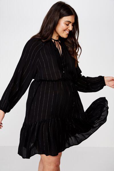 Curve Woven Lacy Long Sleeve Mini Dress, BLACK