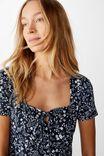 Yasmine Gathered Short Sleeve Mini Dress, BLAIR FLORAL PAISLEY TOTAL ECLIPSE