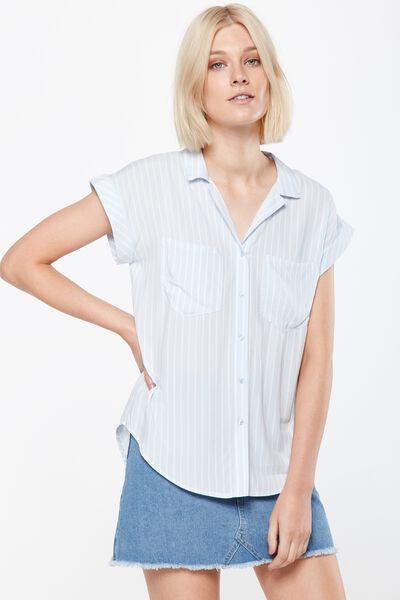 Emily Short Sleeve Shirt, HARRIET STRIPE AEGAN BLUE