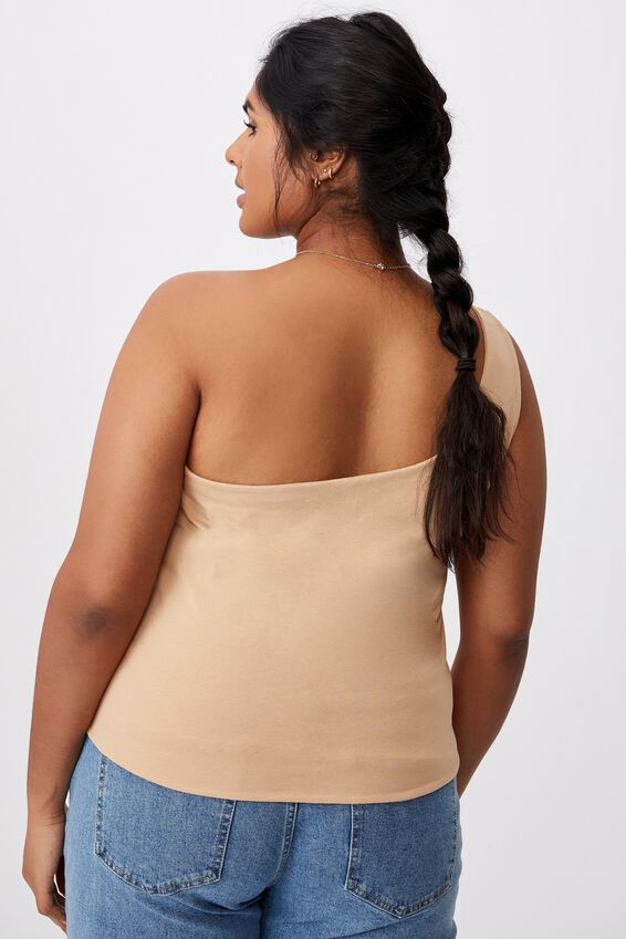 Curve One Shoulder Sleeveless Top, WARM STONE