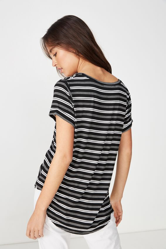 Karly Short Sleeve V Neck Top, MAYA STRIPE BLACK/WHITE
