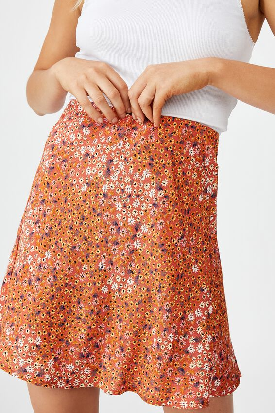 True Bias Mini Skirt, MANDY MULTI DITSY AUTUMN GLAZE
