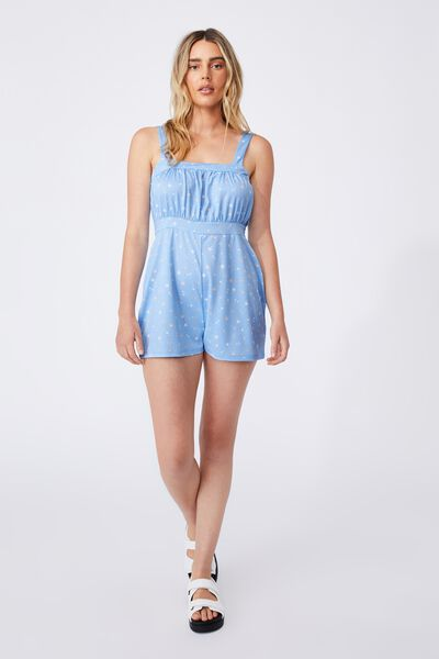 Lina Ruched Front Playsuit, DELILA DITSY AUTHENTIC BLUE