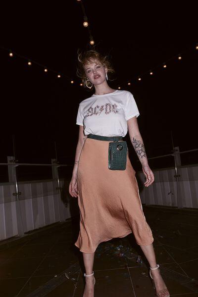 Woven Belle Bias Midi Skirt, SAHARA