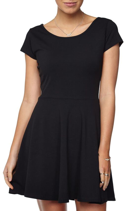 Billie Cap Sleeve Skater Dress, BLACK