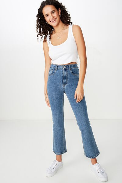 Cropped Kick Flare Jean, BERKLEY BLUE