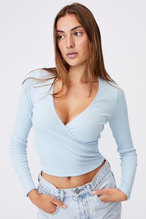Wade Wrap Long Sleeve Top, DAISY BLUE