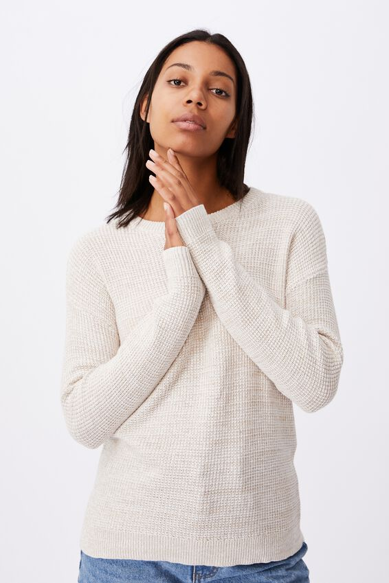 Cotton Pullover, TAUPE WHITE TWIST