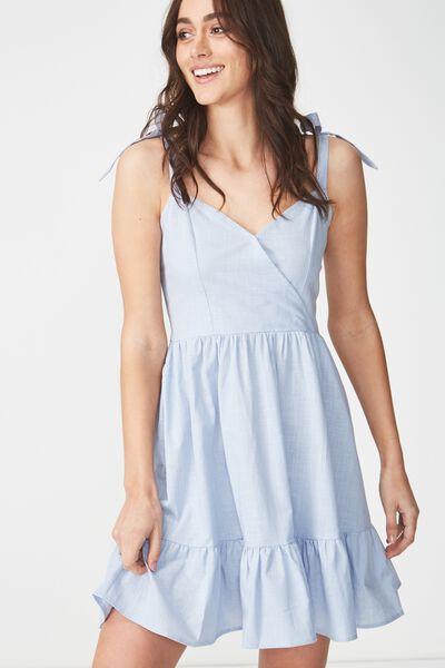 Woven Kaya Strappy Sun Dress, BLUE HAZE