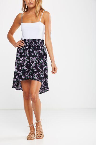 Woven Romy Shirred Midi Skirt, ELLA SPLICED FLORAL DEEPEST NAVY