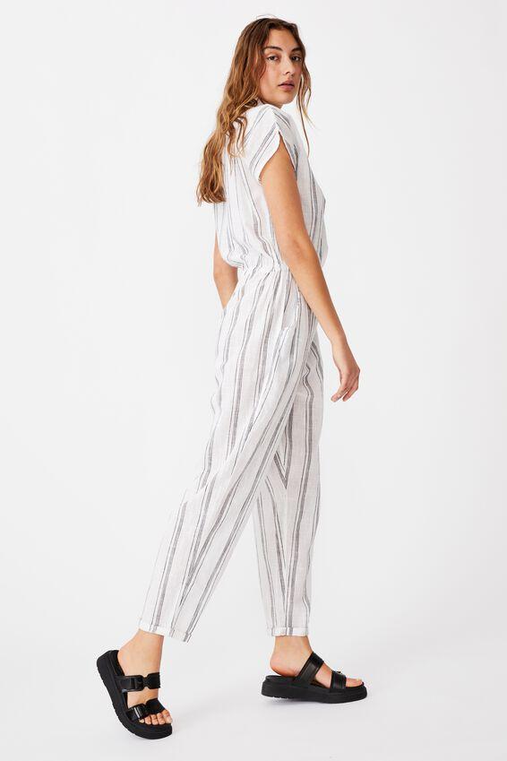 Woven Jasmine Utility Jumpsuit, MONICA STRIPE WHITE