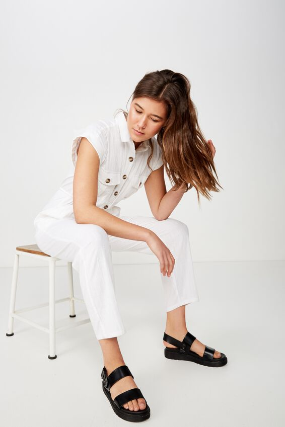 Woven Isabella Utility Jumpsuit, WHITE
