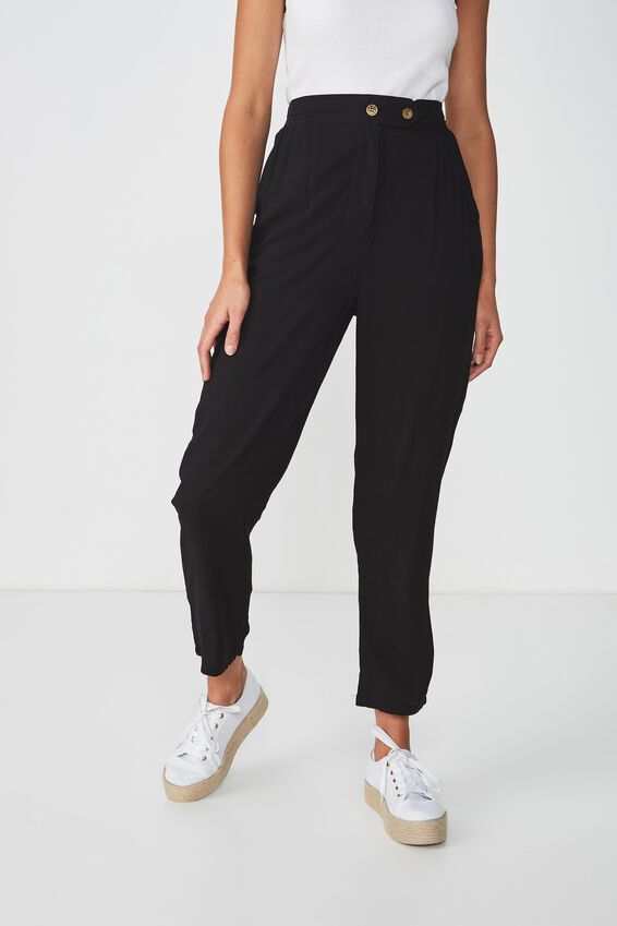 Ava Tapered Pant, BLACK