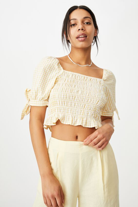 Bella Shirred Square Neck Blouse, BETHANY GINGHAM CALI YELLOW