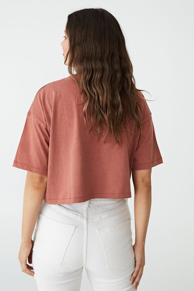 Cropped Boyfriend Tee, WASHED EARTHY RED