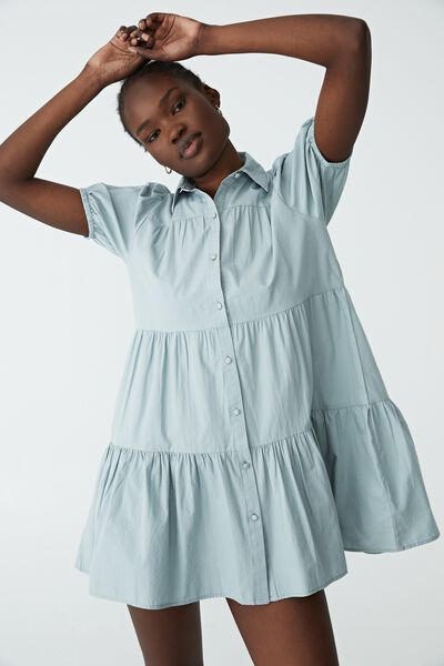 Woven Petite Nikki Mini Shirt Dress, AZURE BLUE