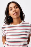 The One Crew Tee, RETRO STRIPE CLOUD DANCER_LUCKY RED