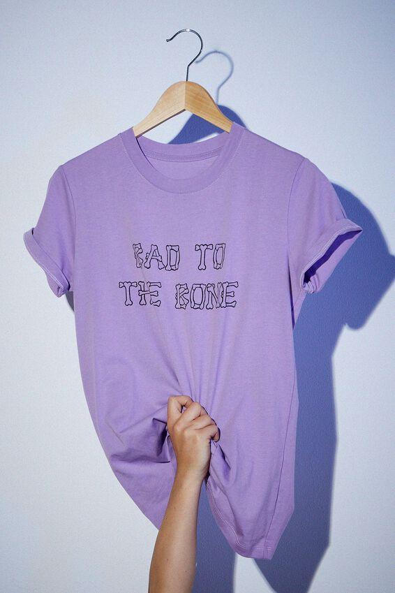 Classic Slogan T Shirt, BAD TO THE BONE/PURPLE POTION
