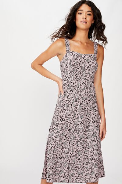 Woven Melanie Midi Slip Dress, BLAIR FLORAL PAISLEY KEEPSAKE LILAC