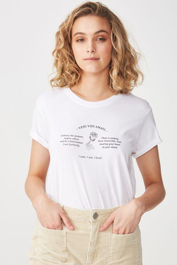 Tbar Fox Graphic T Shirt, VENI VIDI AMAVI/WHITE