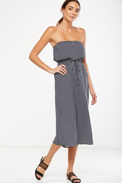 Woven Betty Bandeau Jumpsuit, RUBY VERTICAL STRIPE TOTAL ECLIPSE