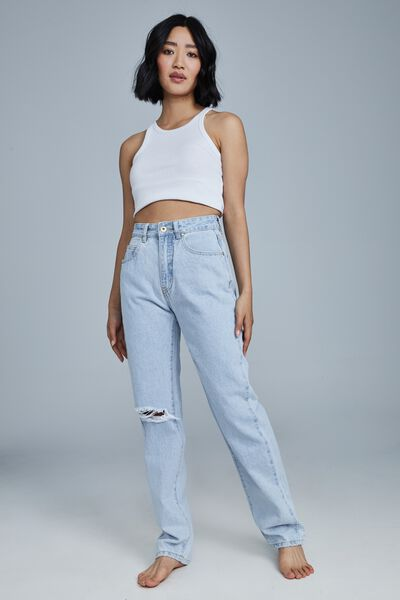 Petite Straight Jean, ADDIS BLUE RIP