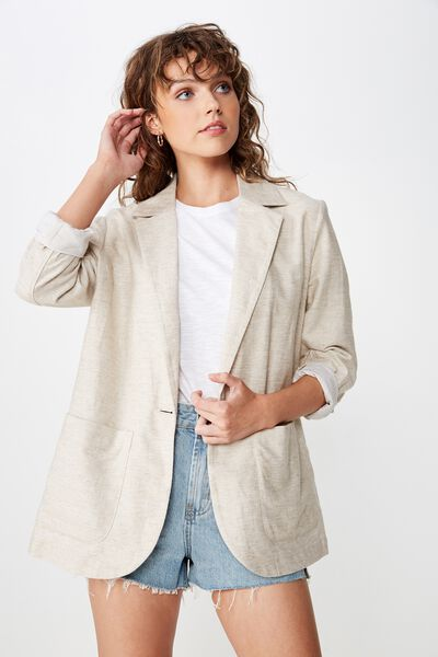 Summer Os Blazer, NATURAL