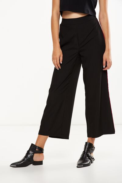 Wide Leg Pant 2, BLACK WITH WHITE SIDE SPLIT
