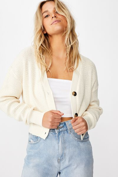 Morgan Waffle Button Cardi, SEA SALT