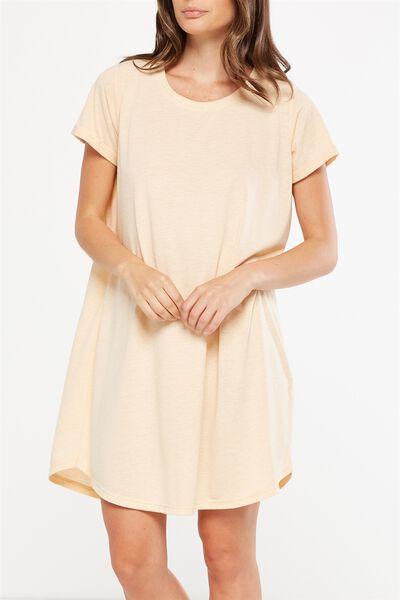 Tina Tshirt Dress 2, CREAMY PEACH/WHITE NEP