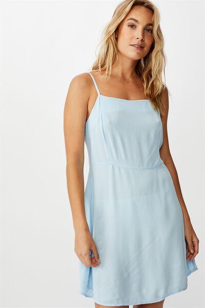 Woven Kendall Mini Dress, CERULEAN