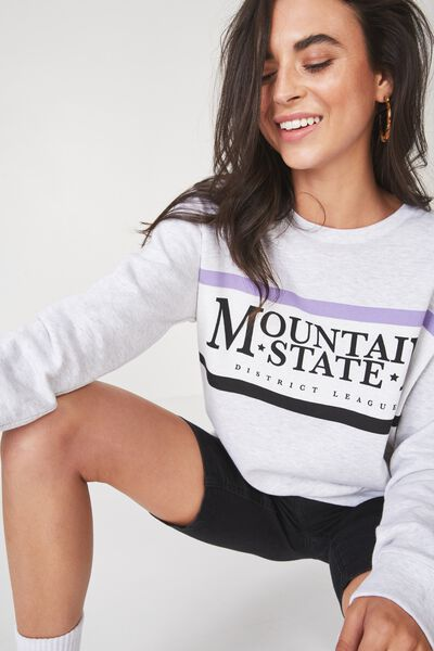 Ferguson Graphic Crew Sweater, MOUNTAIN STATE/SILVER MARLE