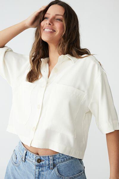 Daydreamer Cropped Shirt, CHALK WHITE
