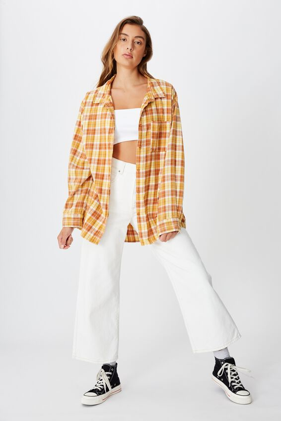 Relaxed Flannel Shirt, ALEXA CHECK BAMBOO
