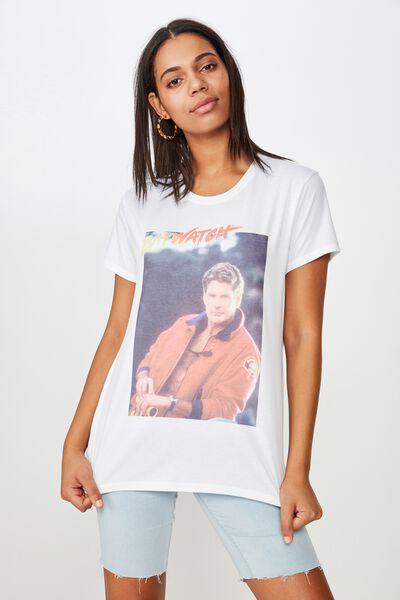 Classic Tv Movie T Shirt, LCN BAYWATCH HOFF/WHITE
