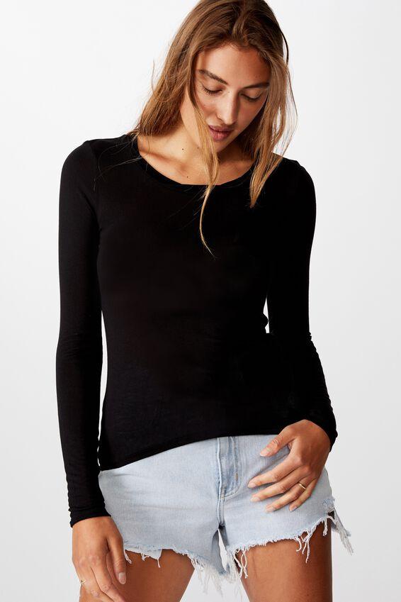 Sheer Vintage Scoop Long Sleeve Top, BLACK
