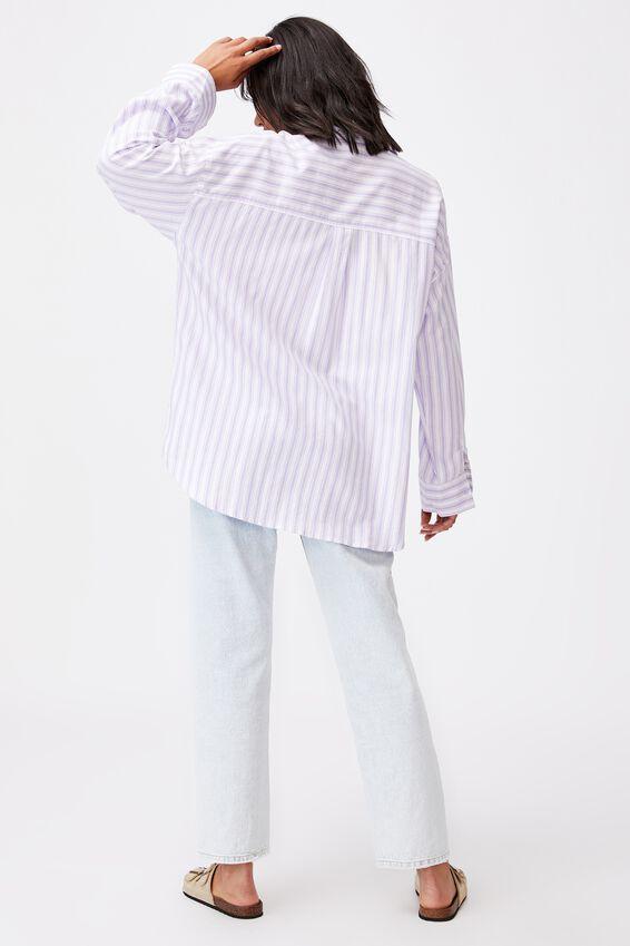 Dad Shirt, SAVANNAH STRIPE POWDER LILAC