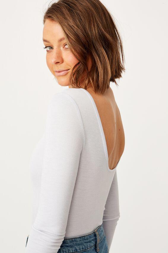 Victoria Scoop Back Long Sleeve Bodysuit, SILVER MARLE